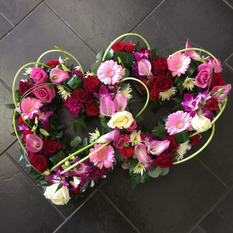 Rose & Orchid Double Heart