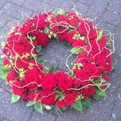 Contemporary Red Rose & Willow Wreath
